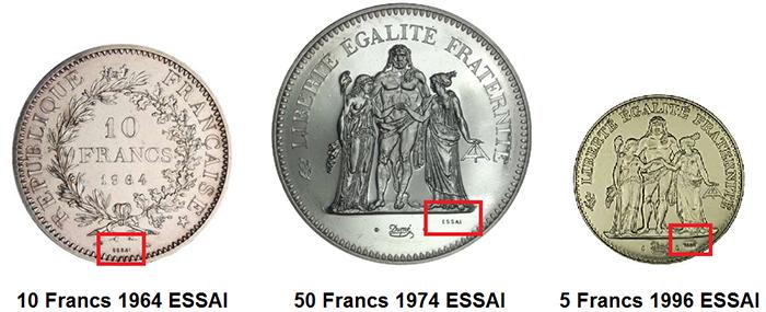 La pièce Hercule pré-série de 1964 a la particularité de ne pas avoir le  mot ESSAI gravé. Cette dernière a été frappée à 134 exemplaires seulement. 92699233288c
